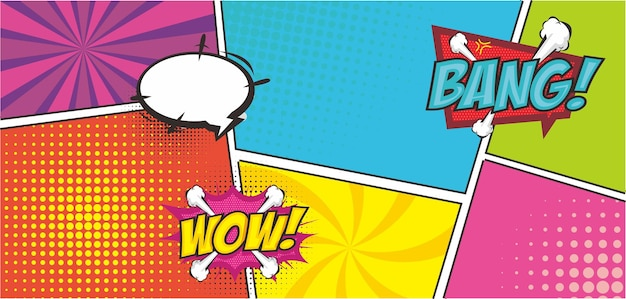 Fundo da arte pop com lugar para texto quadro de quadrinhos desenho de ilustração vetorial retro dos desenhos animados
