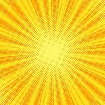 Fundo da arte pop. meio-tom e explosão estelar. desenho amarelo