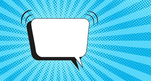 Fundo da arte pop. padrão de meio-tom em quadrinhos. banner de desenho animado azul com bolha do discurso. impressão duotônica vintage. design starburst de super-herói. textura gradiente uau.