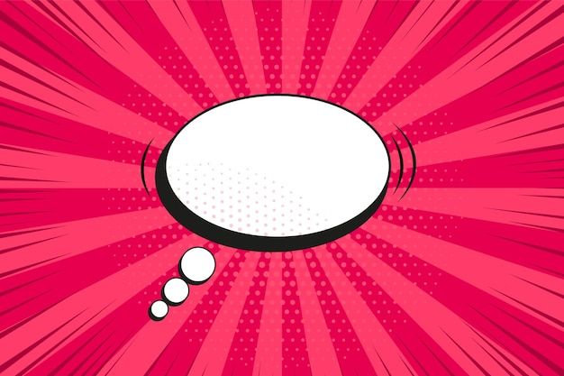 Fundo da arte pop. padrão de quadrinhos com balão e starburst. impressão do sunburst vermelho dos desenhos animados com pontos. textura de luz do sol vintage. banner retro duotônico de meio-tom