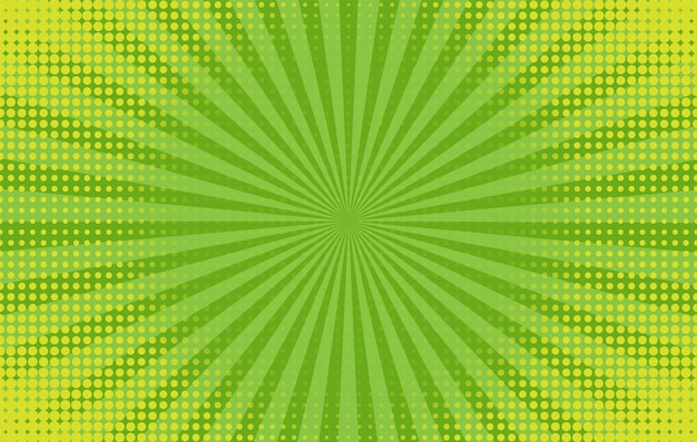 Fundo da arte pop. padrão de quadrinhos com starburst e meio-tom. banner verde com pontos e feixes