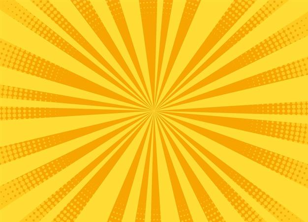 Fundo da arte pop. quadrinhos de meio-tom. efeito starburst dos desenhos animados. sunburst amarelo