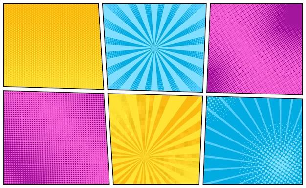 Fundo da arte pop. textura cômica com meio-tom e sunburst. defina padrões de explosão estelar. estandarte da luz do sol