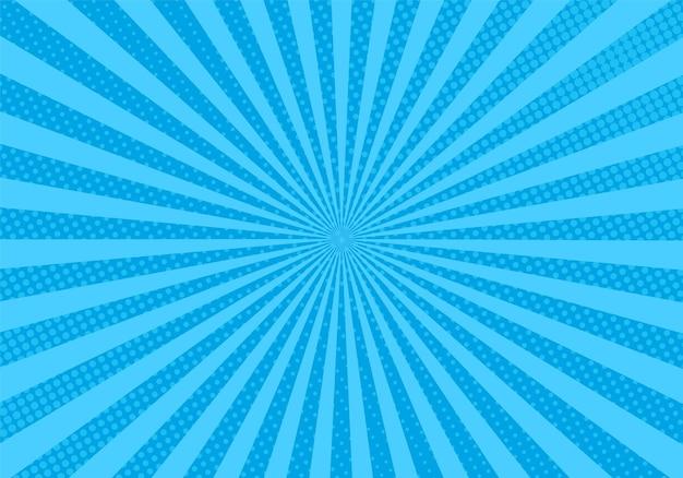 Fundo da arte pop. textura de meio-tom em quadrinhos. padrão de starburst azul com vigas e pontos. efeito duotônico vintage. banner retrô da luz do sol. impressão de super-herói dos desenhos animados. ilustração vetorial.