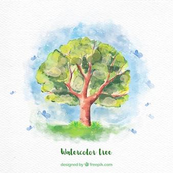 Fundo da árvore watercolor