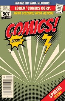 Fundo da banda desenhada do vetor com bolha da explosão dos desenhos animados. livro de capa em quadrinhos fantástico, ilustração de edição especial