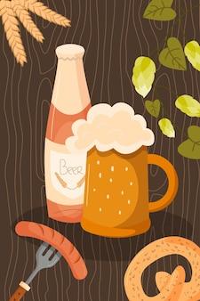 Fundo da bandeira festiva da oktoberfest elementos do festival de cerveja do evento de munique de alimentos e bebidas