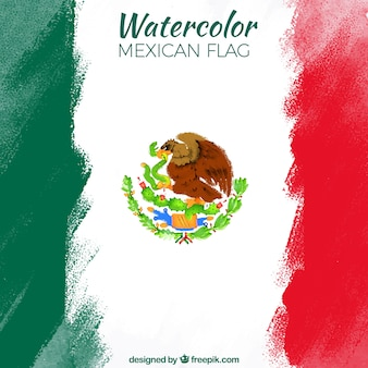 Fundo da bandeira mexicana da aguarela