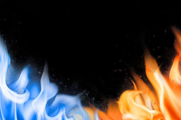 Fundo da borda da chama, vetor de imagem de fogo azul realista preto