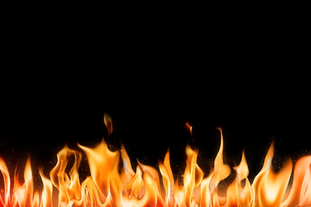Fundo da borda da chama, vetor preto da imagem do fogo realista