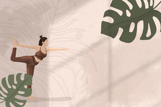 Fundo da borda da folha monstera com ilustração de ioga, saúde e bem-estar