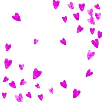 Fundo da borda do coração com glitter rosa. dia dos namorados. confete de vetor. textura de mão desenhada. tema de amor para convite de festa, oferta de varejo e anúncio. modelo de casamento e nupcial com borda de coração.