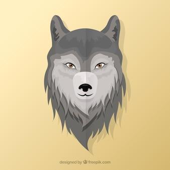 Fundo da cabeça do lobo no design plano