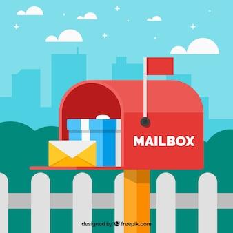 Fundo da caixa de correio vermelha com envelope e do presente