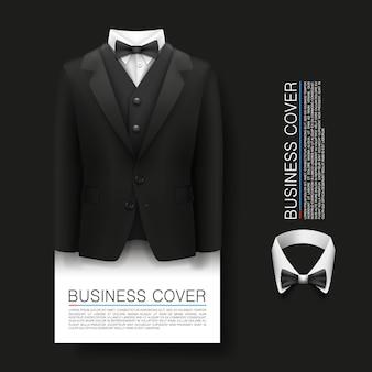 Fundo da capa do smoking. cover business. ingresso de cortesia, objeto 3d terno, ilustração vetorial