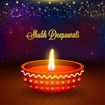 Fundo da celebração de diwali com lâmpada de óleo 3d realista.