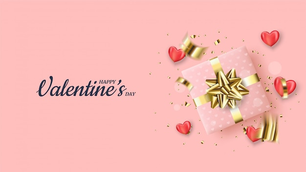 Fundo da celebração do dia dos namorados com ilustrações de caixas de presente rosa e pedaços de papel dourado espalhados.