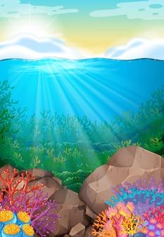 Fundo da cena com vista sob o oceano