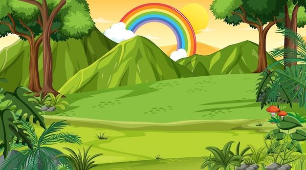 Fundo da cena da natureza com arco-íris no céu