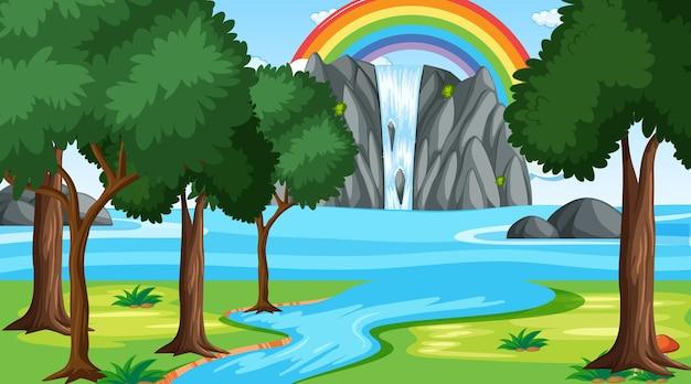 Fundo da cena da natureza com cachoeira