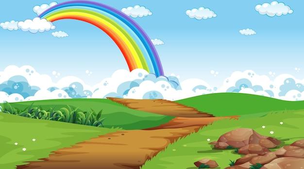 Fundo da cena do parque natural com arco-íris no céu Vetor grátis