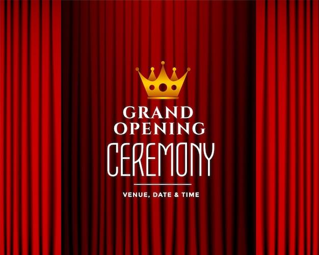 Fundo da cerimônia de inauguração com cortinas vermelhas