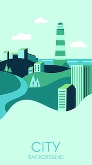 Fundo da cidade com modernos edifícios altos e natureza verde.