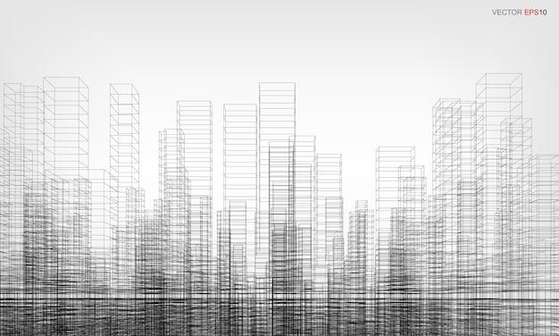 Fundo da cidade de wireframe. perspectiva 3d render do edifício wireframe. ilustração vetorial.
