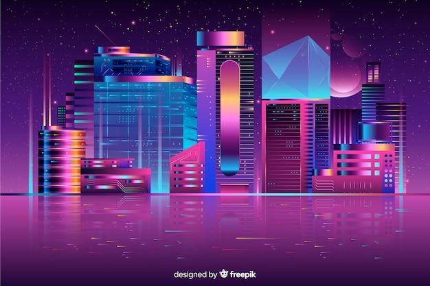Fundo da cidade futurista noite