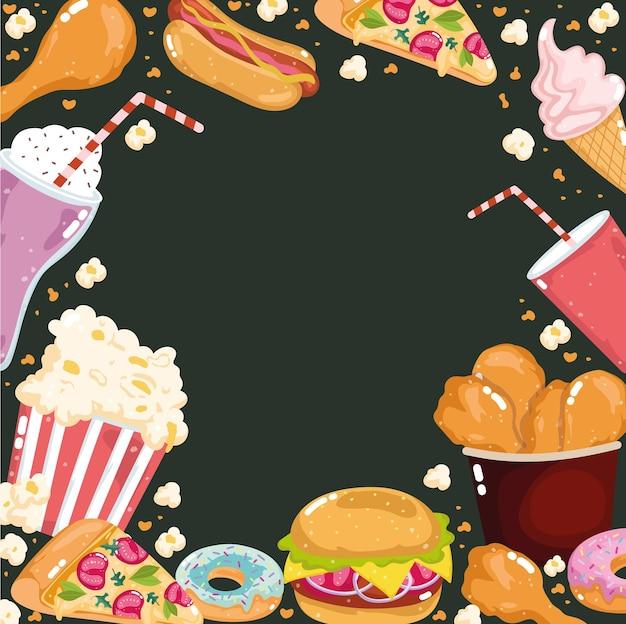 Fundo da coleção do menu de fast food