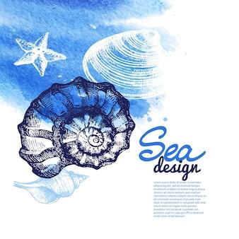 Fundo da concha. desenho náutico de mar. esboço desenhado à mão e ilustração em aquarela