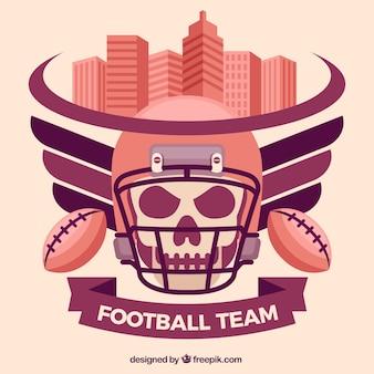 Fundo da equipe de futebol com crânio