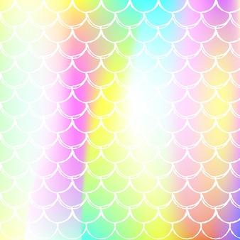 Fundo da escala holográfica com sereia gradiente. transições de cores brilhantes. bandeira de cauda de peixe e convite. padrão subaquático e mar para festa de menina. cenário colorido com escala holográfica.