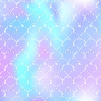 Fundo da escala holográfica com sereia gradiente. transições de cores brilhantes. bandeira de cauda de peixe e convite. padrão subaquático e mar para festa de menina. cenário de arco-íris com escala holográfica.