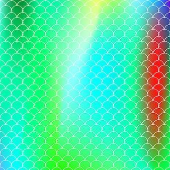 Fundo da escala holográfica com sereia gradiente. transições de cores brilhantes. bandeira de cauda de peixe e convite. padrão subaquático e mar para festa de menina. cenário multicolor com escala holográfica.
