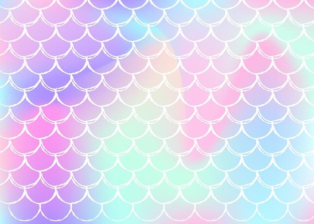Fundo da escala holográfica com sereia gradiente. transições de cores brilhantes. bandeira de cauda de peixe e convite. padrão subaquático e mar para festa de menina. cenário perolado com escala holográfica.