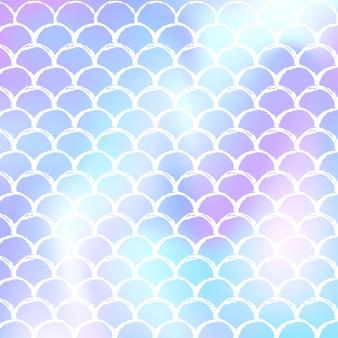Fundo da escala holográfica com sereia gradiente. transições de cores brilhantes. bandeira de cauda de peixe e convite. padrão subaquático e mar para festa de menina. pano de fundo elegante com escala holográfica.