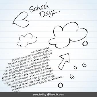 Fundo da escola com doodles