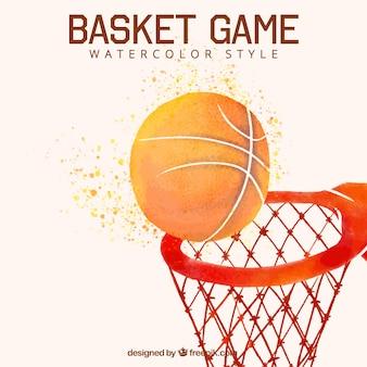 Fundo da esfera com a cesta de basquete aquarela