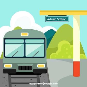 Fundo da estação de comboio em design plano