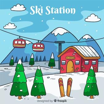 Fundo da estação de esqui
