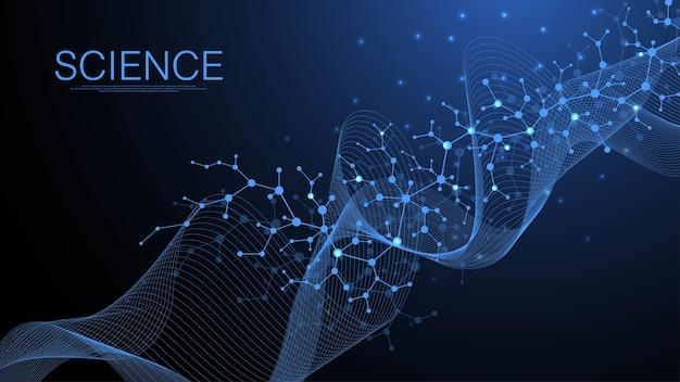 Fundo da estrutura molecular. papel de parede de modelo de ciência ou banner com moléculas de dna. fundo de molécula científica de asbtract. fluxo de ondas, padrão de inovação. ilustração vetorial.