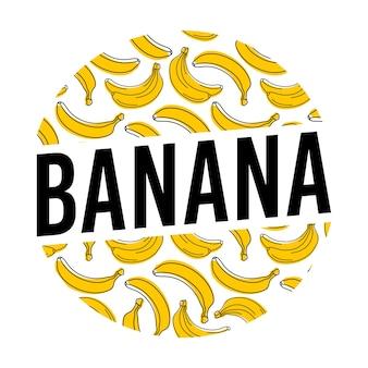 Fundo da etiqueta do círculo da banana