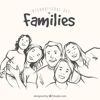 Fundo da família feliz no estilo hand-drawn