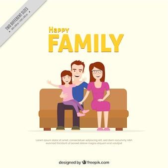 Fundo da família feliz sentado em um sofá