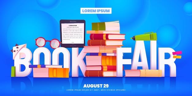 Fundo da feira de livros de desenhos animados