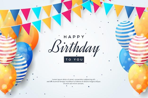 Fundo da festa de aniversário com ilustrações coloridas do balão 3d e bandeiras coloridas.