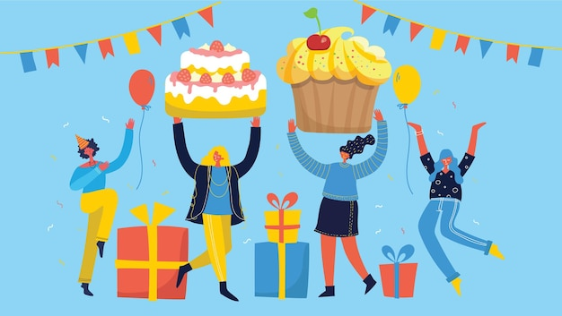 Fundo da festa. feliz grupo de pessoas pulando sobre um fundo brilhante. o conceito de amizade, estilo de vida saudável, sucesso. ilustração vetorial em estilo simples