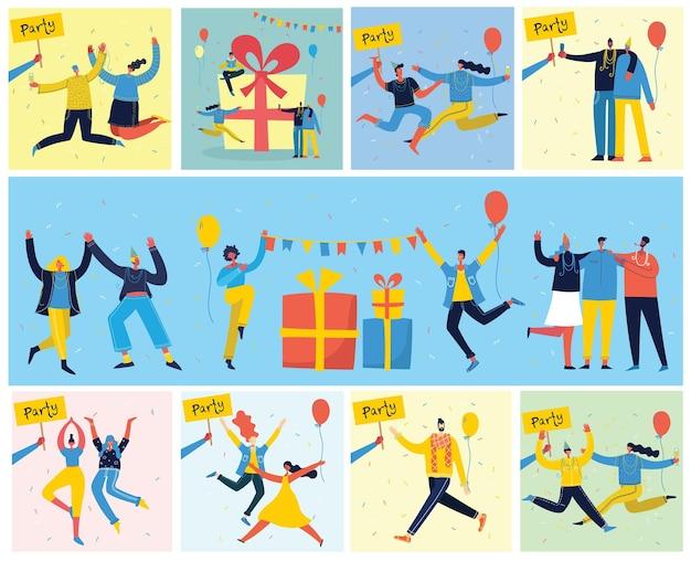 Fundo da festa. feliz grupo de pessoas pulando sobre um fundo brilhante.