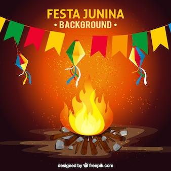 Fundo da fogueira e decoração de festa junina